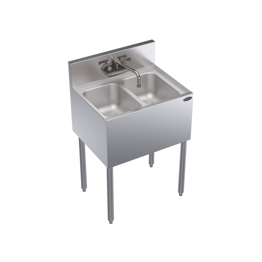 "Krowne KR18-22C 24"" 2-Compartment Sink w/ 10""W x 14""L Bowl, 10"" Deep"