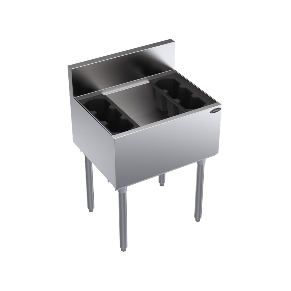 "Krowne KR18-24-10 Ice Bin - 80 lb Capacity, Bottle Racks, 7"" Back Splash, 24x19"", Cold Plate"