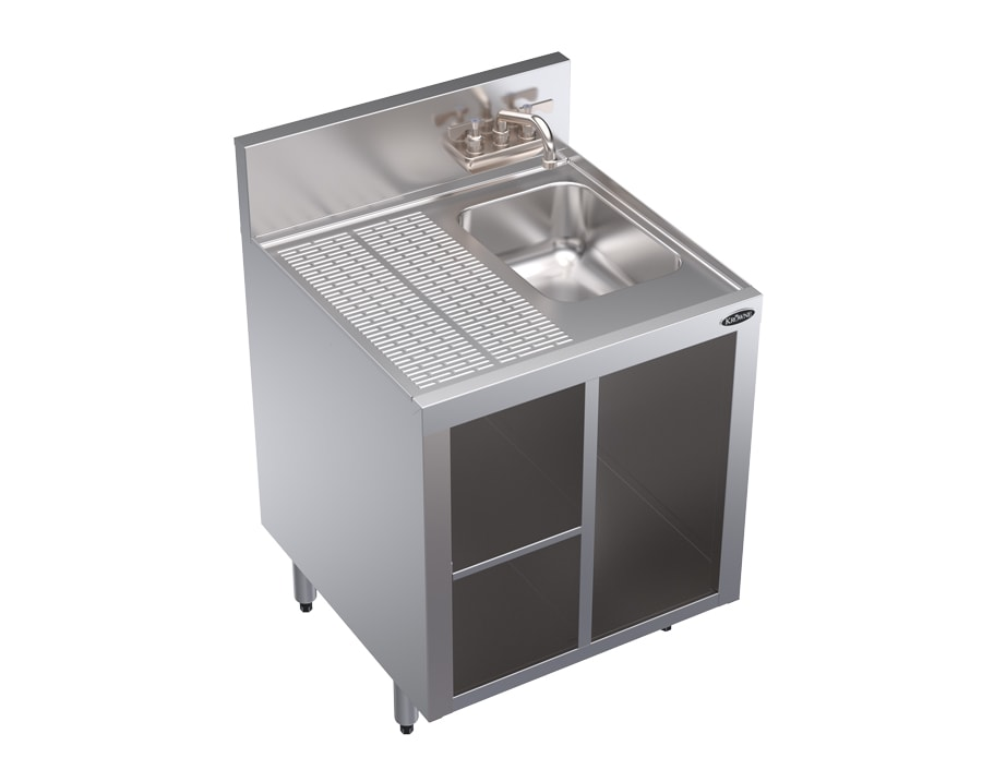 "Krowne KR18-24SC Under Bar Glass Storage Unit - Drainboard Top w/Sink, 7"" Back Splash, 24x24"