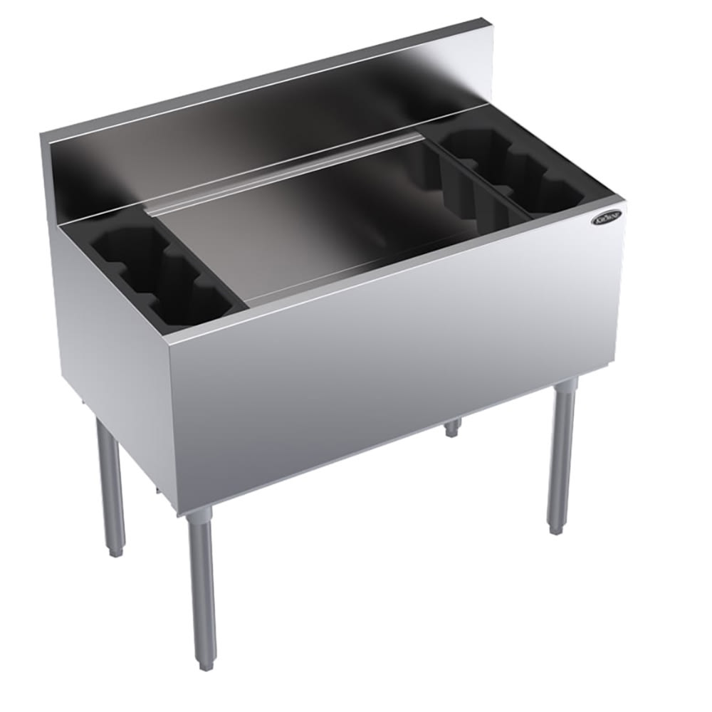 "Krowne KR18-36DP-10 Ice Bin - 138-lb Capacity, Bottle Racks, 7"" Back Splash, 36x19"", Cold Plate"
