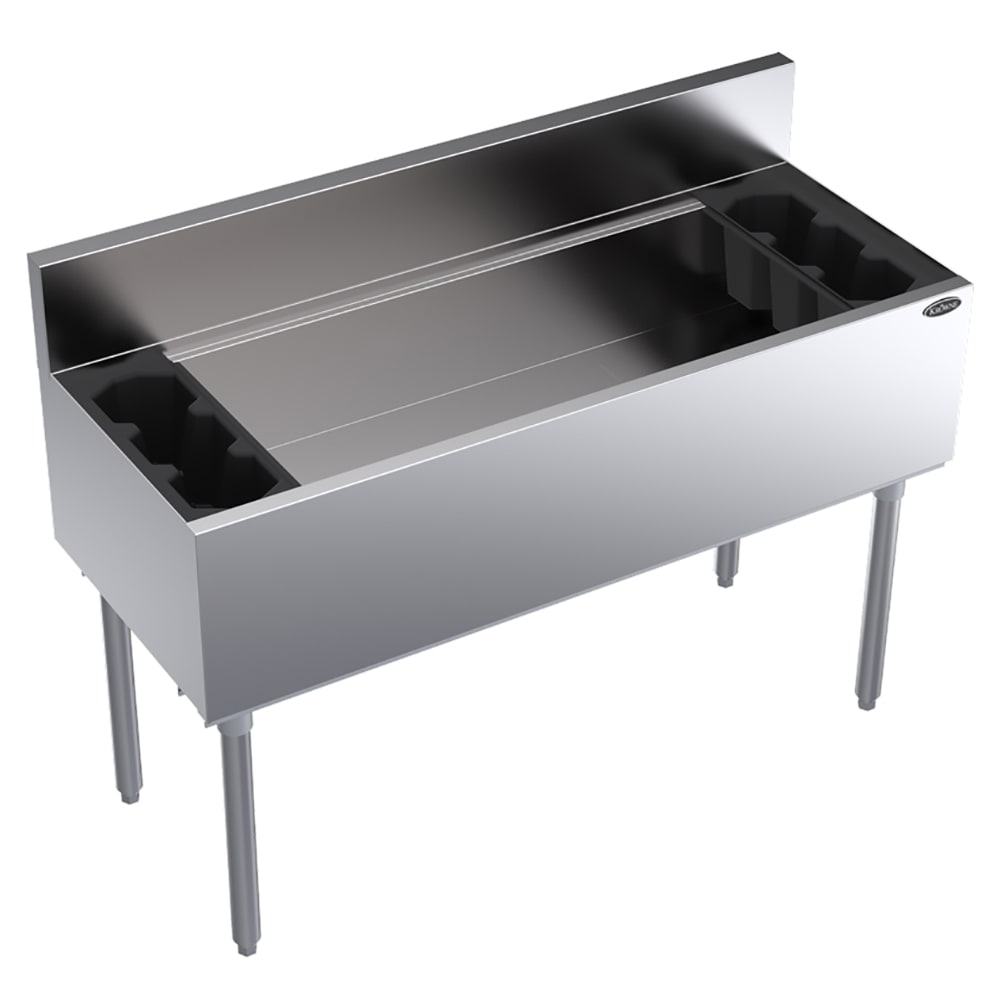 "Krowne KR18-48-10 Ice Bin - 160 lb Capacity, Bottle Racks, 7"" Back Splash, 48x19"", Cold Plate"