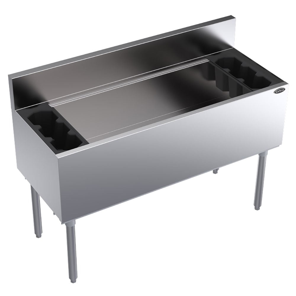 "Krowne KR18-48DP-10 Ice Bin - 178 lb Capacity, Bottle Racks, 7"" Back Splash, 48x19"", Cold Plate"