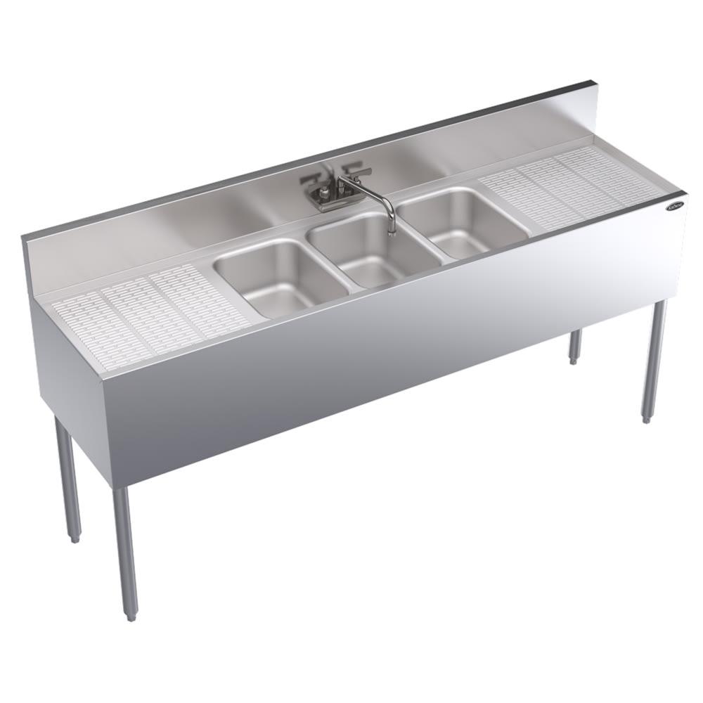 """Krowne KR18-63C 72"""" 3-Compartment Sink w/ 10""""W x 14""""L Bowl, 10"""" Deep"""