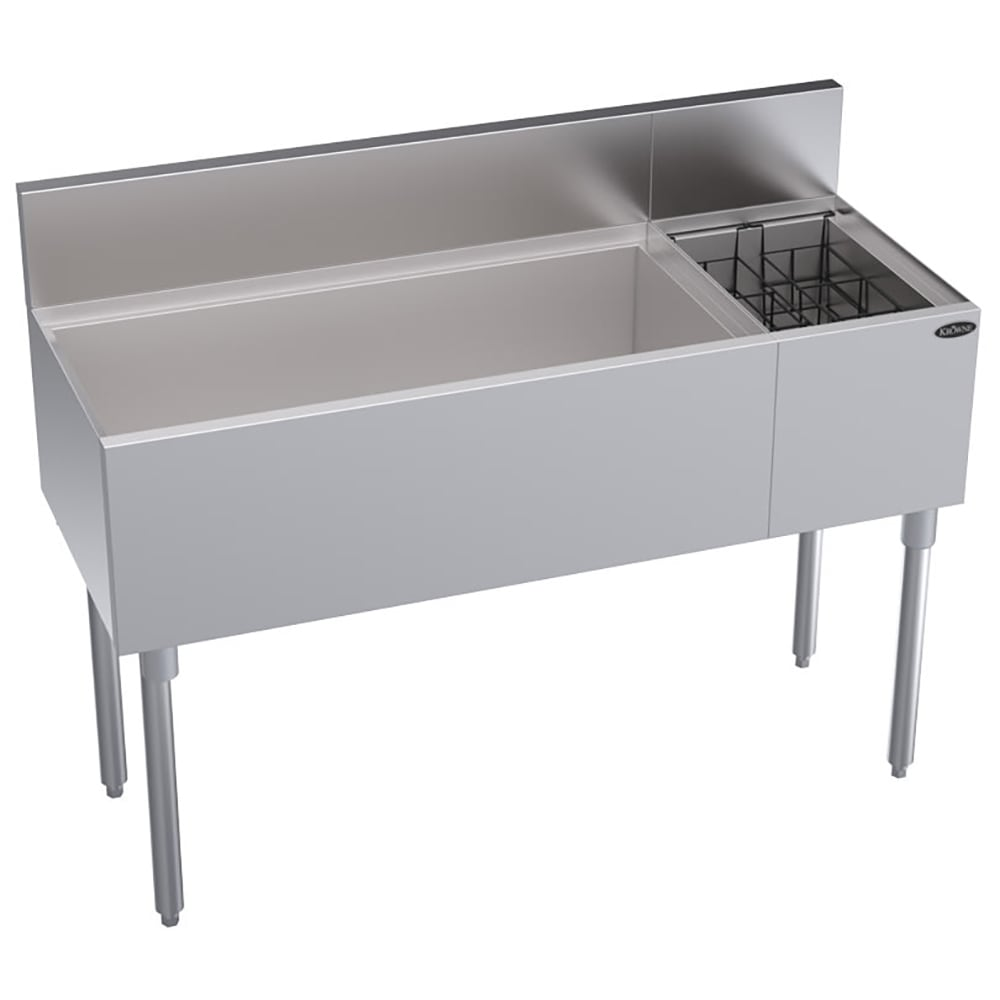 "Krowne KR18-M48L-10 Left Ice Bin/Right Bottle Section - 115 lb Capacity, 48x19"", Cold Plate"