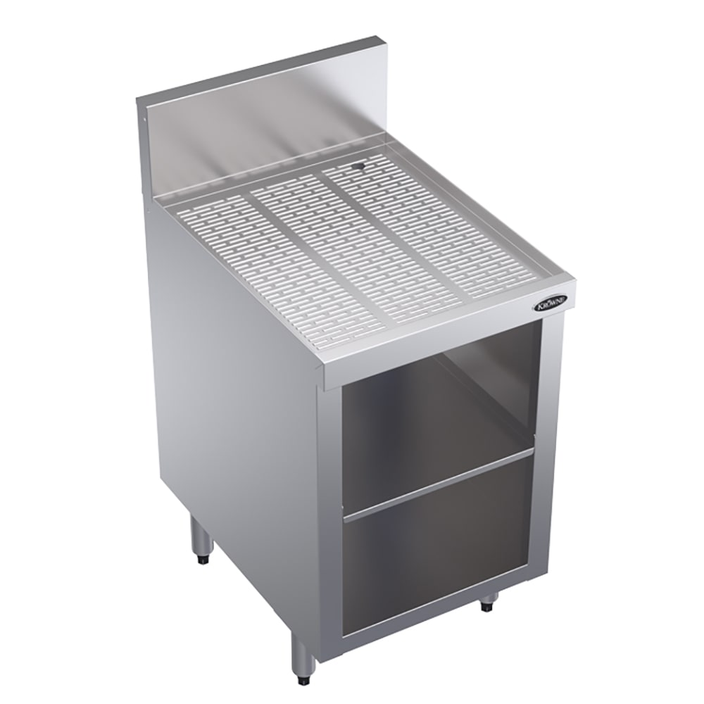 "Krowne KR18-S18 Under Bar Glass Storage Unit - Open Base, 7"" Back Splash, 18x24"