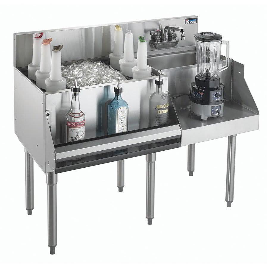Krowne KR18-W48L-10 Left Ice Bin/Right Blender Unit - 97-lb Capacity, Dump Sink, 48x24