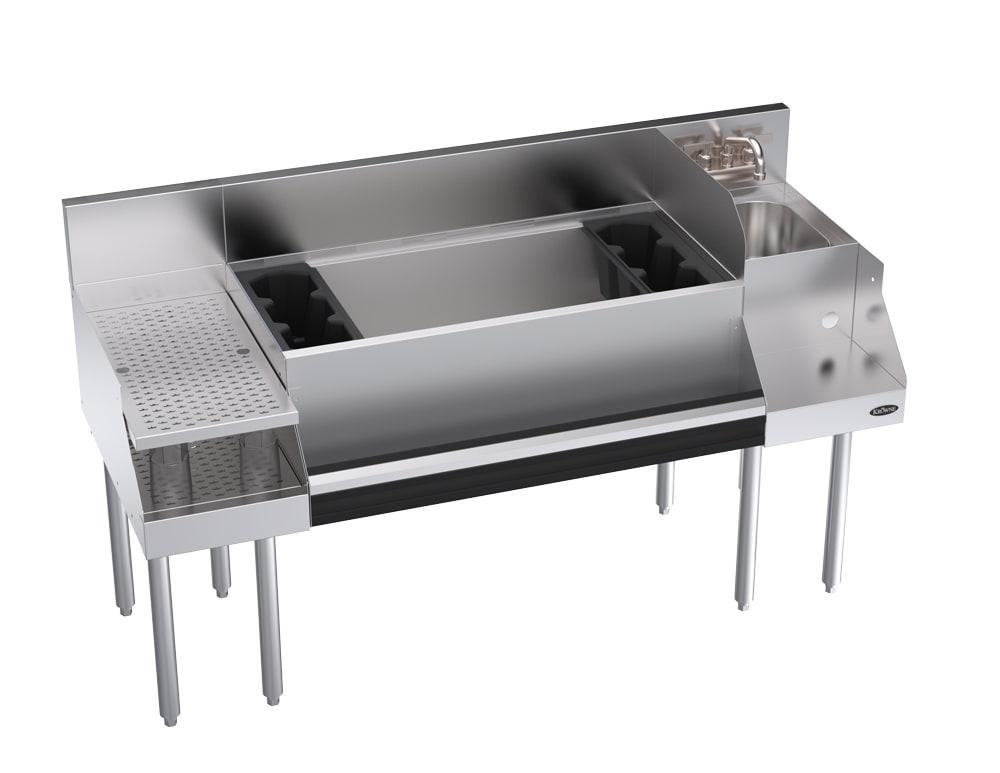 """Krowne KR18-W60B-10 Ice Bin/Blender Station w/ 12"""" Drainboard - 97-lb Ice Bin, Dump Sink, 60x24"""