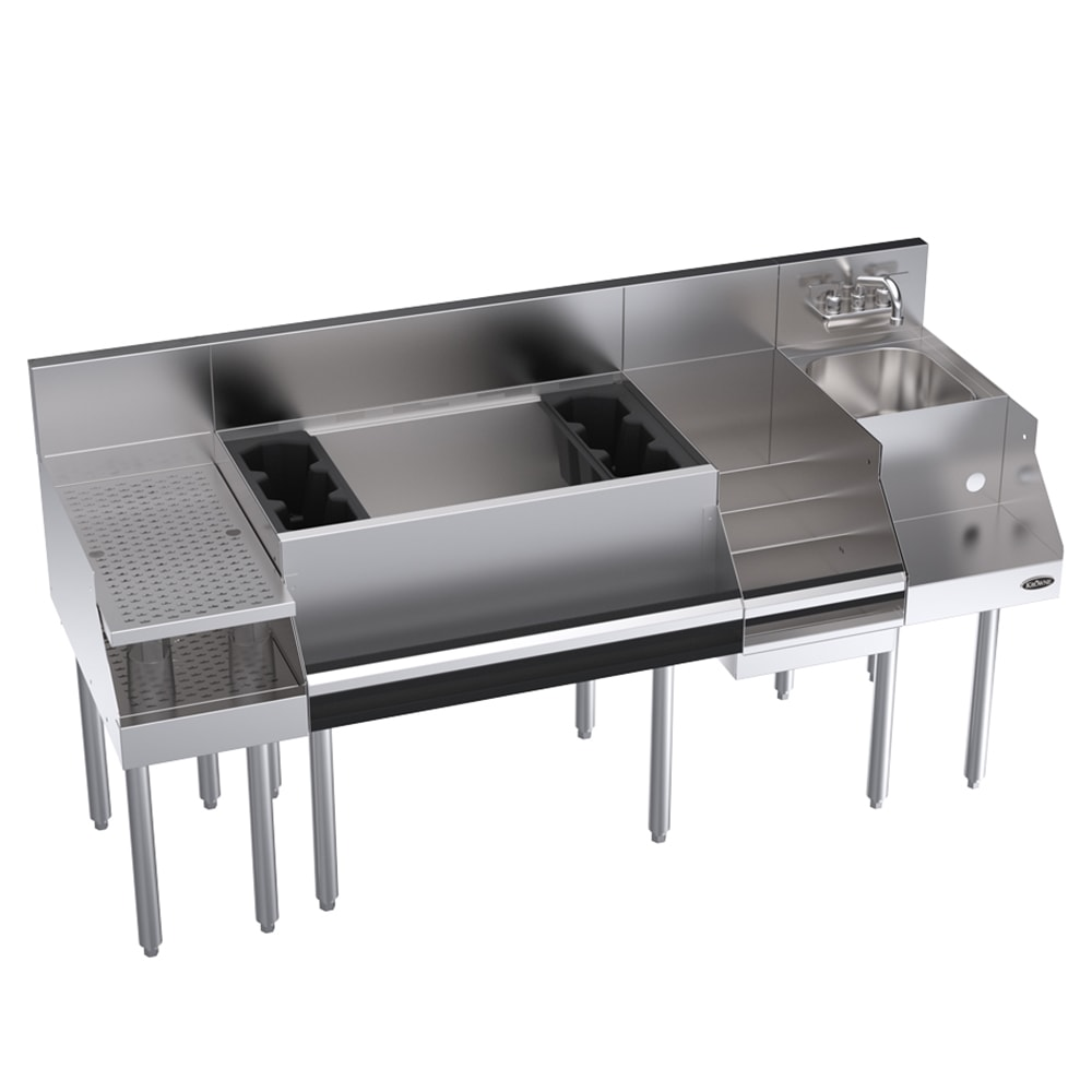 "Krowne KR18-W66C-10 Cocktail/Blender/Liquor Unit w/ 12"" Drainboard - 97-lb Ice Bin, Dump Sink, 66x24"