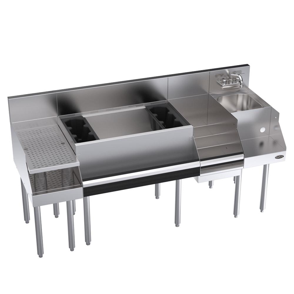 "Krowne KR18-W66C-10 Cocktail/Blender/Liquor Unit w/ 12"" Drainboard - 97 lb Ice Bin, Dump Sink, 66x24"