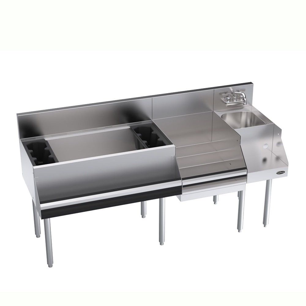Krowne KR18-W66D-10 Cocktail/Blender/Liquor Unit - 115-lb Ice Bin, Dump Sink, 66x24
