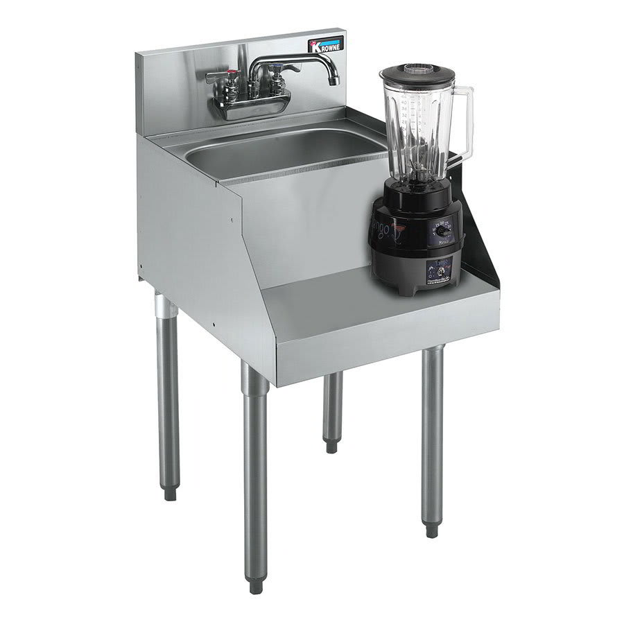 "Krowne KR21-12BD Blender/Liquid Dump Sink - 10x12x7"" Bowl, Deck Mount, 12x26"