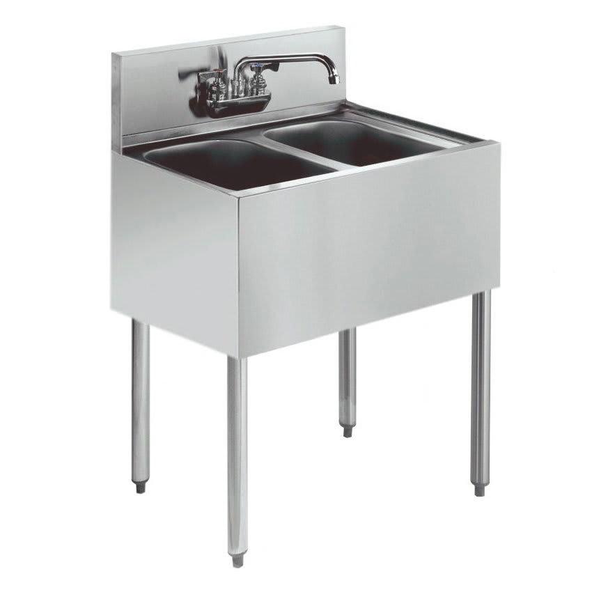 """Krowne KR21-22C 24"""" 2 Compartment Sink w/ 10""""W x 14""""L Bowl, 10"""" Deep"""