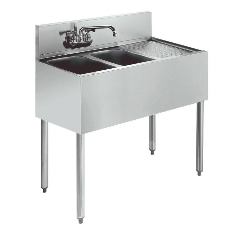"""Krowne KR21-32L 36"""" 2 Compartment Sink w/ 10""""W x 14""""L Bowl, 10"""" Deep"""