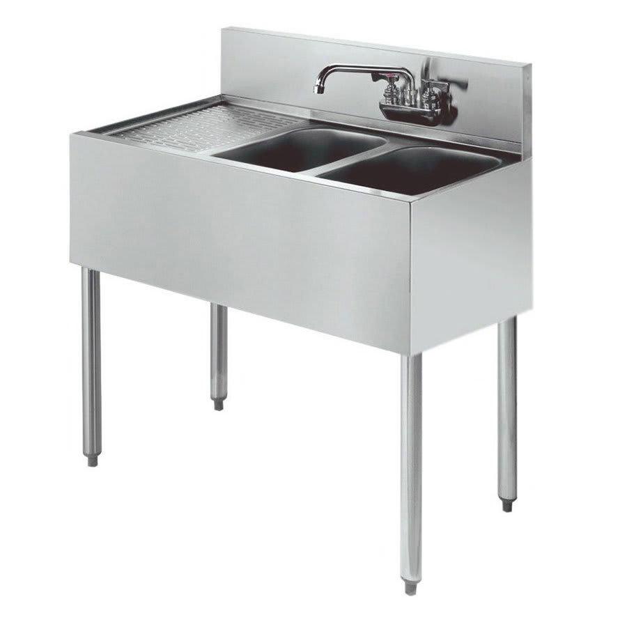 """Krowne KR21-32R 36"""" 2 Compartment Sink w/ 10""""W x 14""""L Bowl, 10"""" Deep"""