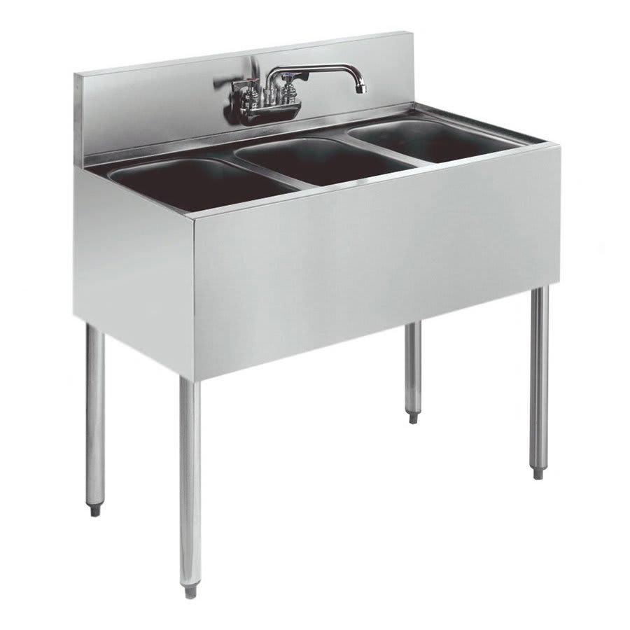 """Krowne KR21-33C 36"""" 3 Compartment Sink w/ 10""""W x 14""""L Bowl, 10"""" Deep"""