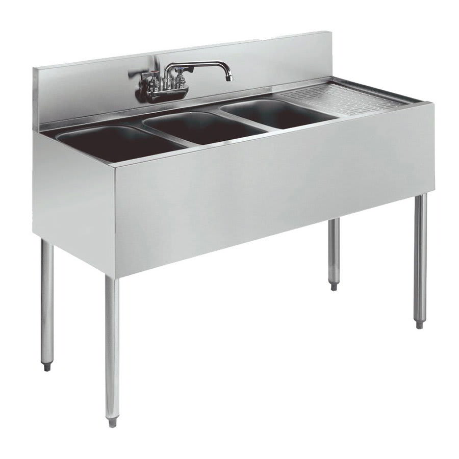 """Krowne KR21-43L 48"""" 3-Compartment Sink w/ 10""""W x 14""""L Bowl, 10"""" Deep"""