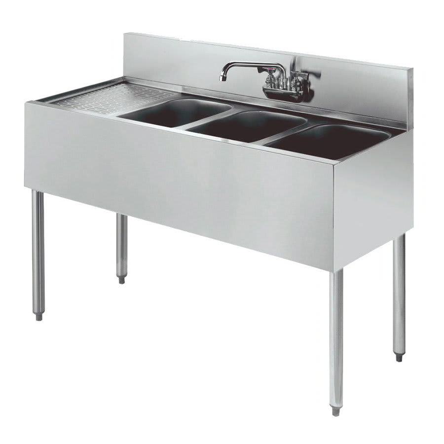 "Krowne KR21-43R 48"" 3-Compartment Sink w/ 10""W x 14""L Bowl, 10"" Deep"