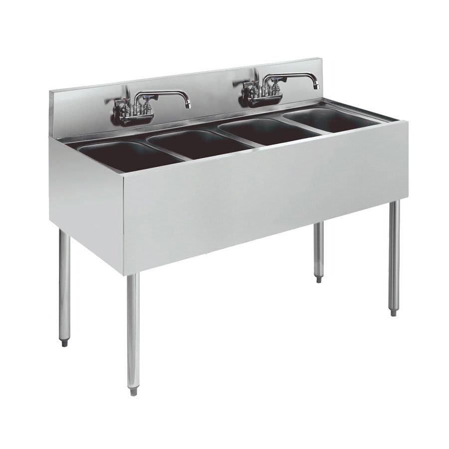"""Krowne KR21-44C 48"""" 4-Compartment Sink w/ 10""""W x 14""""L Bowl, 10"""" Deep"""