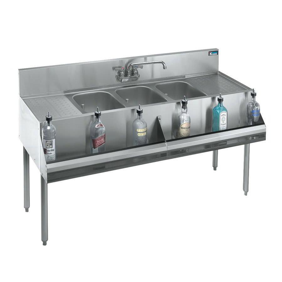 """Krowne KR21-53C 60"""" 3-Compartment Sink w/ 10""""W x 14""""L Bowl, 10"""" Deep"""