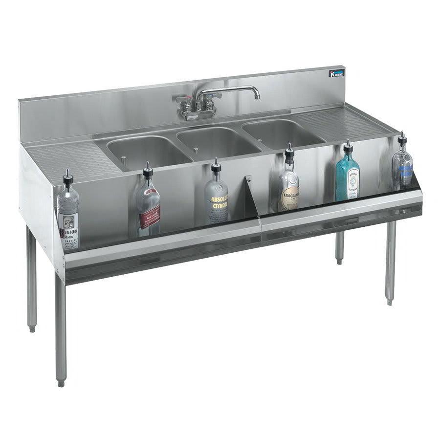 """Krowne KR21-73C 84"""" 3-Compartment Sink w/ 10""""W x 14""""L Bowl, 10"""" Deep"""