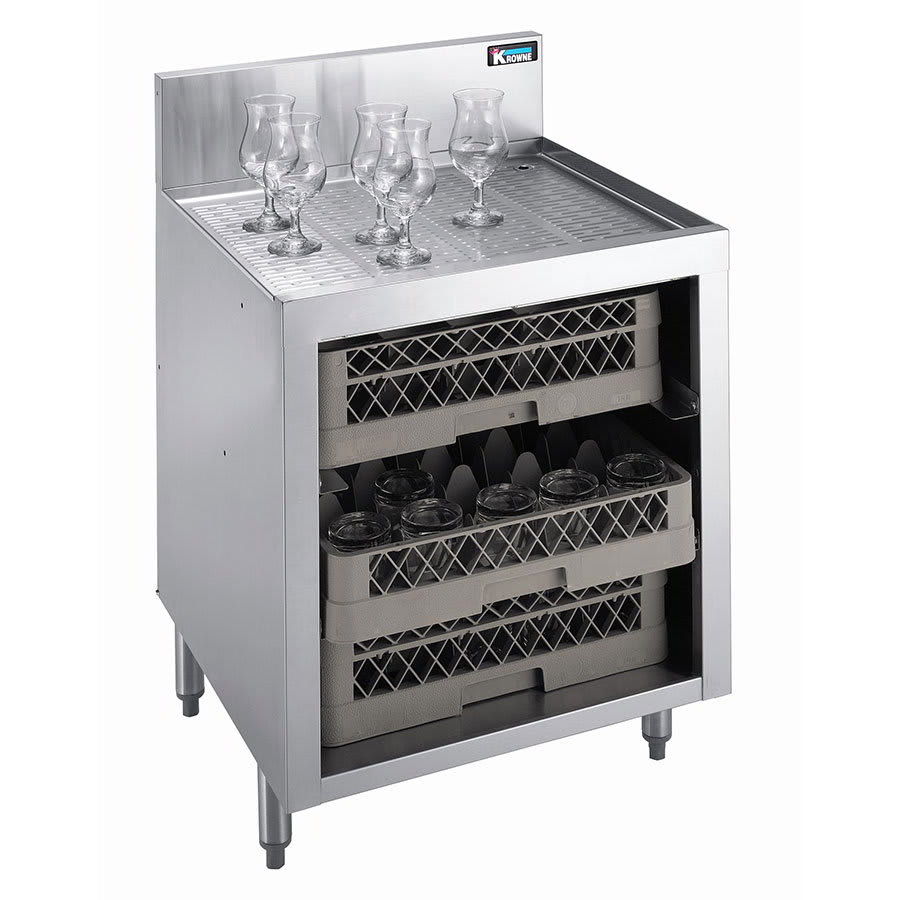 "Krowne KR21-GSB1 Under Bar Glass Storage - 3 Racks, 7"" Back Splash, 24x26"