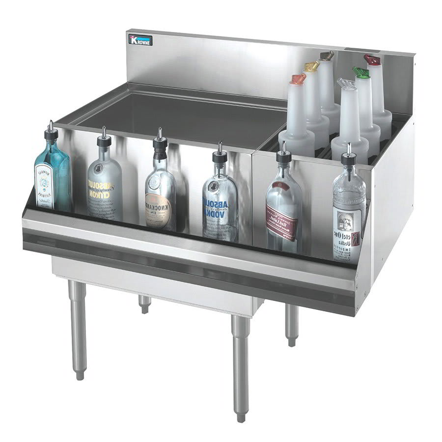 "Krowne KR21-M36L-10 Left Ice Bin/Right Bottle Section - 80-lb Capacity, 36x21"", Cold Plate"
