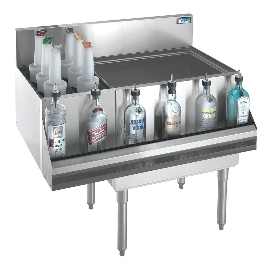 Krowne KR21-M36R Right Ice Bin/Left Bottle Section - 80 lb Capacity, 36x21