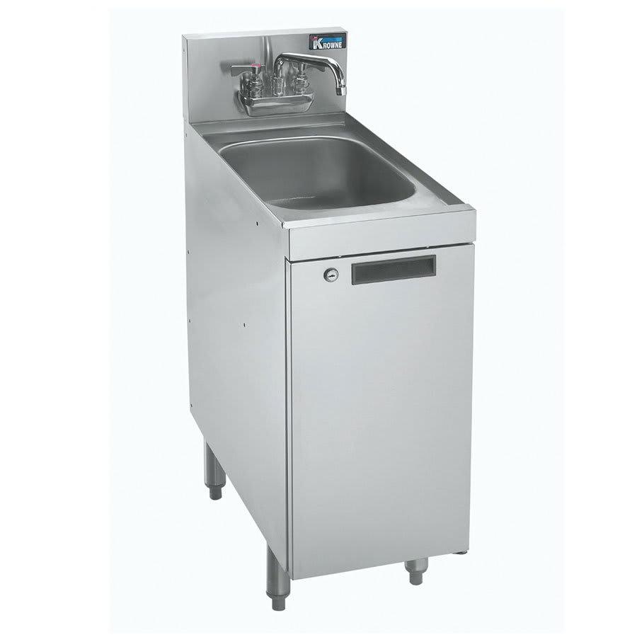 """Krowne KR21-SD12C Under Bar Glass Storage w/ Sink - Hinged Door Base, 7"""" Back Splash, 12x26"""
