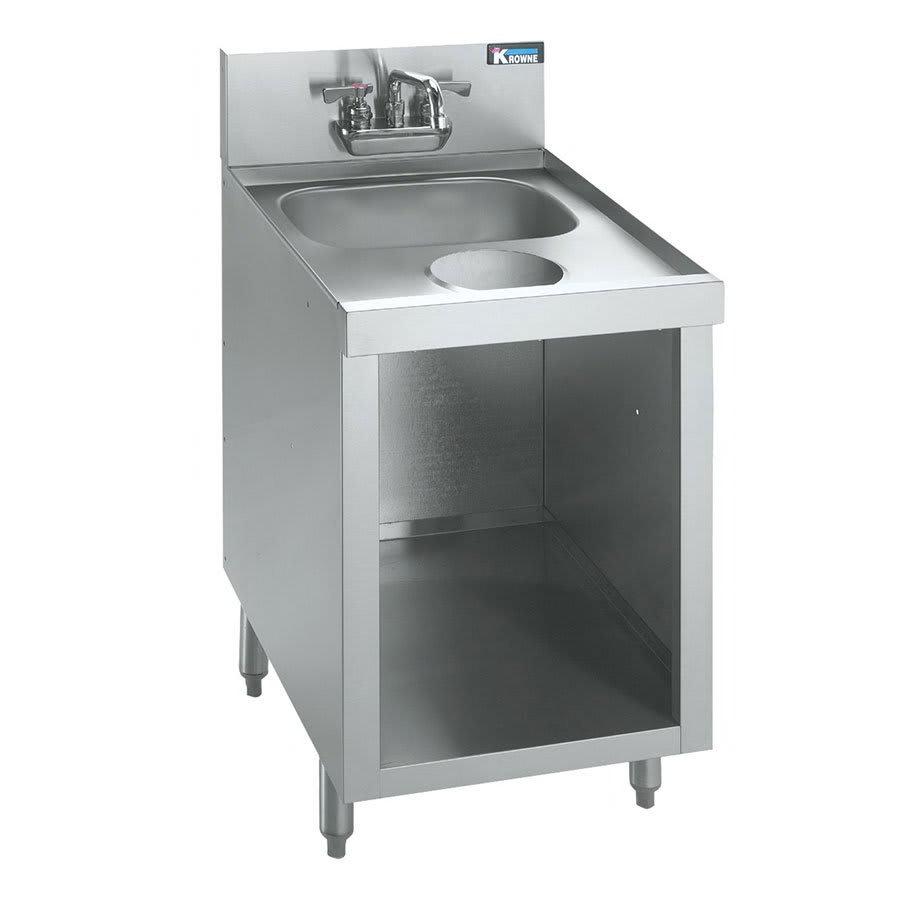 """Krowne KR21-SD18C Under Bar Glass Storage w/ Sink - Hinged Door Base, 7"""" Back Splash, 18x26"""