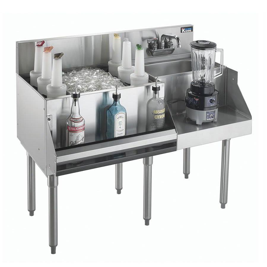 "Krowne KR21-W48L-10 Left Ice Bin/Right Blender Unit - 97 lb Capacity, Sink, 48x26"", Cold Plate"