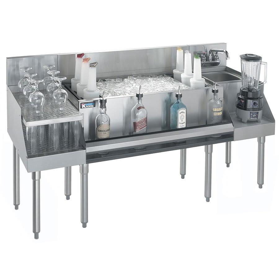 "Krowne KR21-W66B-10 Drainboard/Ice Bin/Blender Unit - 97-lb Capacity, Sink, 66x26"", Cold Plate"