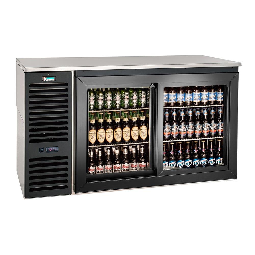 "Krowne SD60L 60"" Bar Refrigerator - 2 Sliding Glass Doors, Black, 115v"