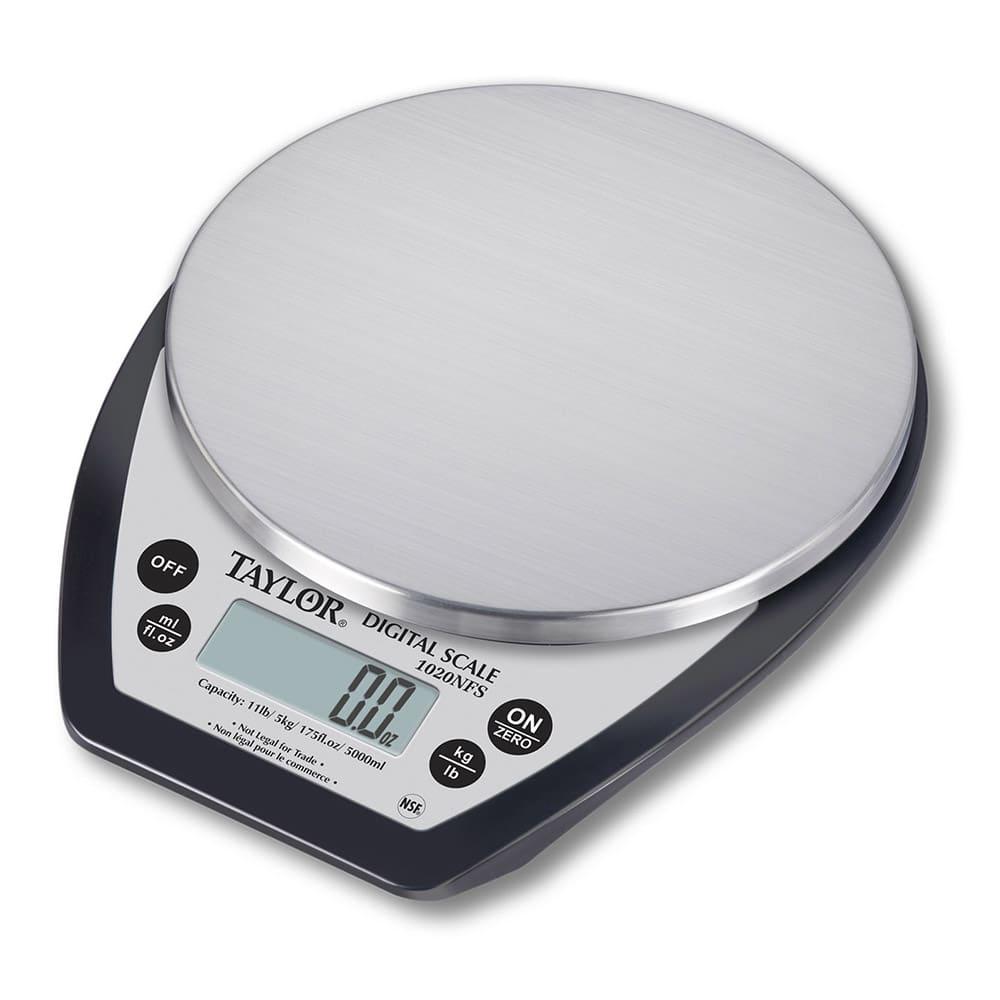 "Taylor 1020NFS 11 lb Aquatronic Digital Portion Control Scale - 6"" Round Platform, Stainless Steel"
