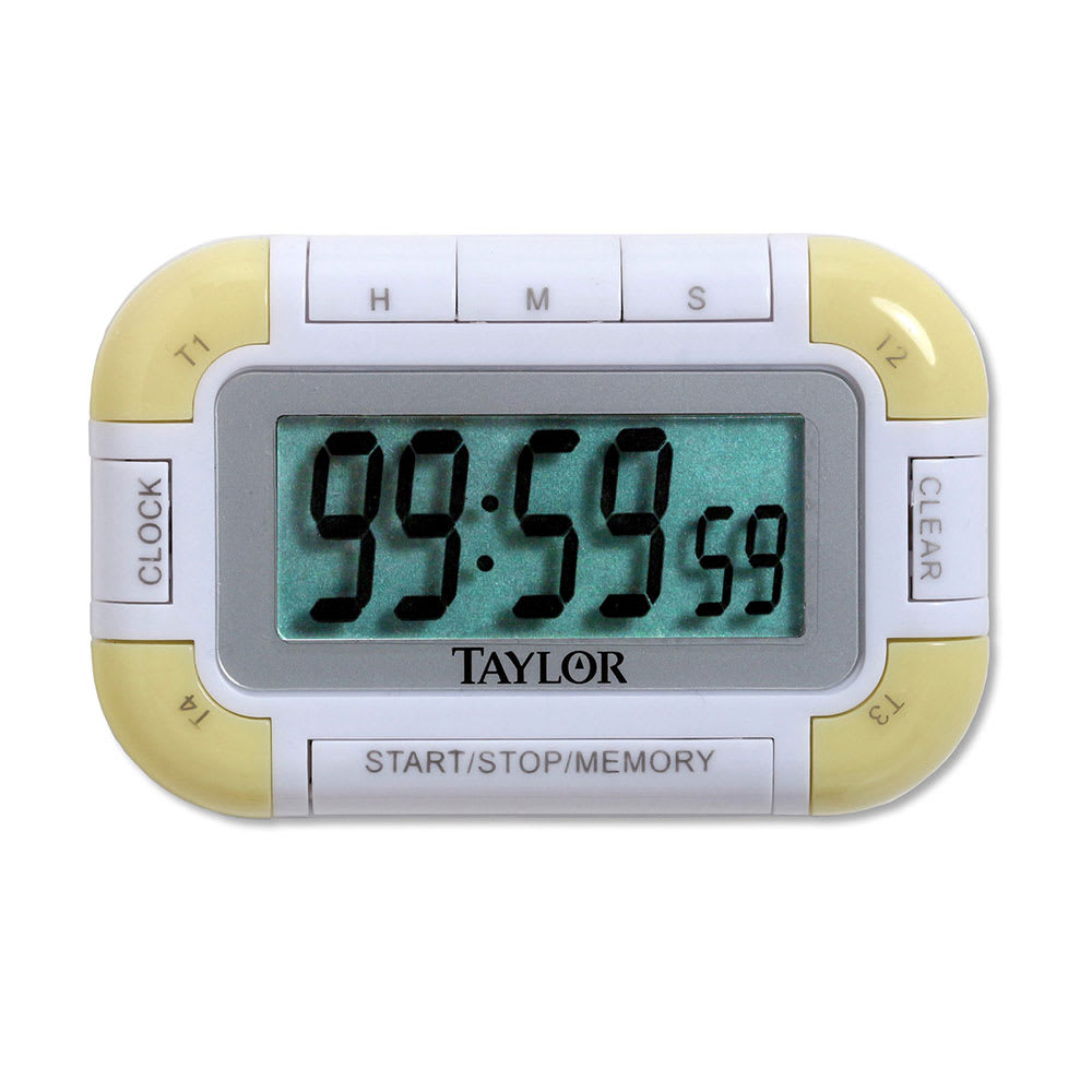 Taylor 5862 Compact 4-Event Digital Timer w/ Clock, LCD Readout