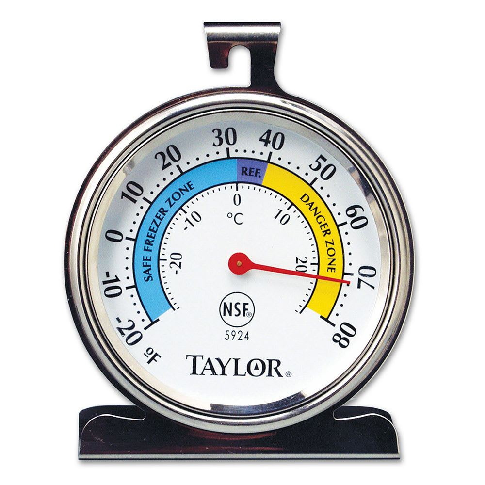 """Taylor 5924 Refrigerator & Freezer Thermometer w/ 3.25"""" Dial Face, Stainless"""