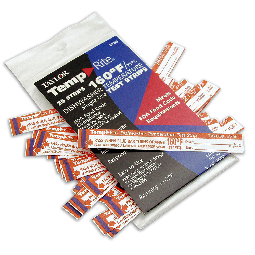 Taylor 8768 Dishwasher Temperature Test Strips, 140 F Degrees
