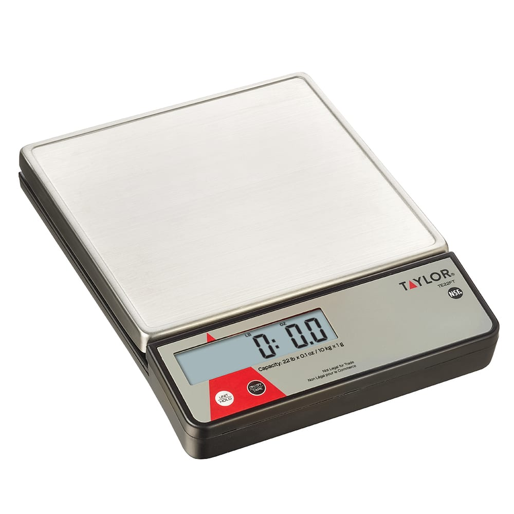 Taylor TE22FT Digital 22 Lb. Portion Control Scale, SS Platform, Tare, Dual Powered