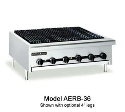 "American Range AERB-36 36"" Counter Charbroiler, Radiant Type, Full Width Grease Pan, LP"