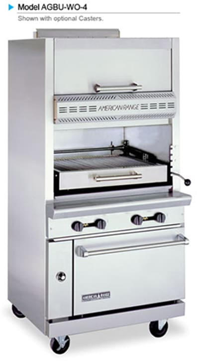 American Range AGBU-WO-4 LP Infrared Broiler w/ 1-Deck, Top Warming Oven, Stainless Exterior, 115000-BTU, LP