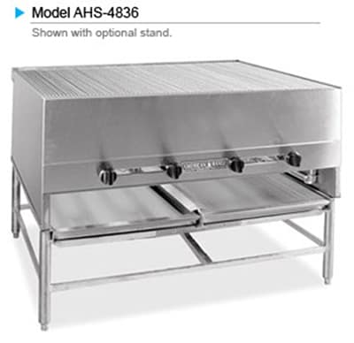 "American Range AHS-4836 LP 48"" Horizontal Broiler w/ Round Rod Grates, Stainless Exterior, 250000 BTU, LP"