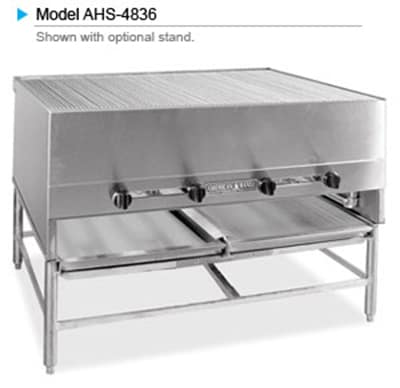 """American Range AHS-6036 NG 60"""" Horizontal Broiler w/ Round Rod Grates, Stainless Exterior, 300000 BTU, NG"""