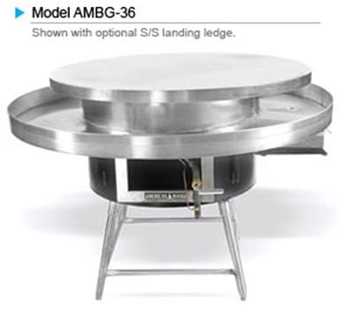 """American Range AMBG-48 NG 48"""" Round Mongolian BBQ w/ Polished Cooking Surface, 125000-BTU, NG"""
