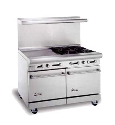 "American Range AR12G6B 48"" 6-Burner Gas Range with Griddle, NG"