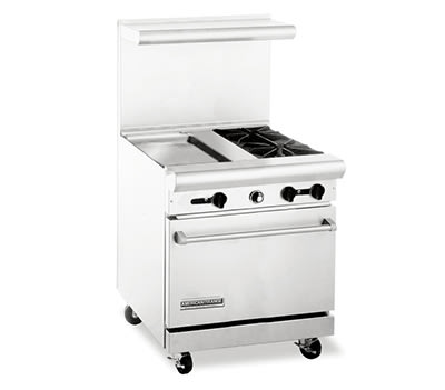 "American Range AR30-18G-2B 30"" 2 Burner Gas Range with Griddle, LP"