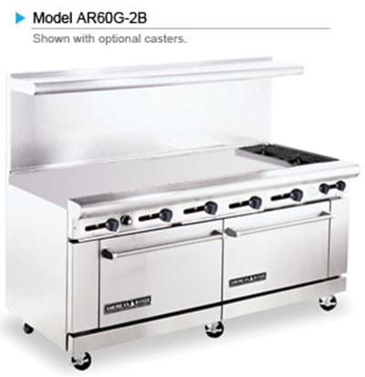 "American Range AR60G-2B 72"" 2 Burner Gas Range with Griddle, LP"