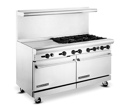 "American Range AR6B24RG 60"" 6 Burner Gas Range with Griddle & Broiler, LP"