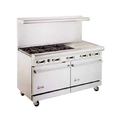 "American Range AR6B-36RG 72"" 6 Burner Gas Range with Griddle & Broiler, NG"