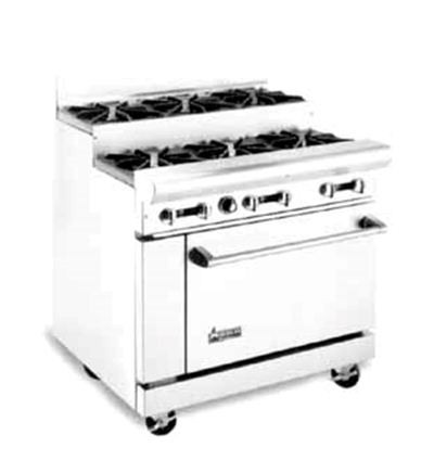 "American Range AR-6-SU 36"" 6 Burner Gas Range, Step-up, LP"