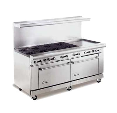 "American Range AR8B24RG 72"" 8 Burner Gas Range with Griddle & Broiler, LP"