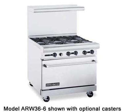 "American Range ARW36-4B-12RG 36"" 4 Burner Gas Range with Griddle & Broiler, NG"